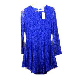 H&M Royal Blue Lace Skater Dress Long Sleeve 10